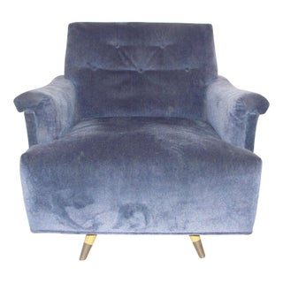 Mid-Century Periwinkle Velvet Swivel Chair