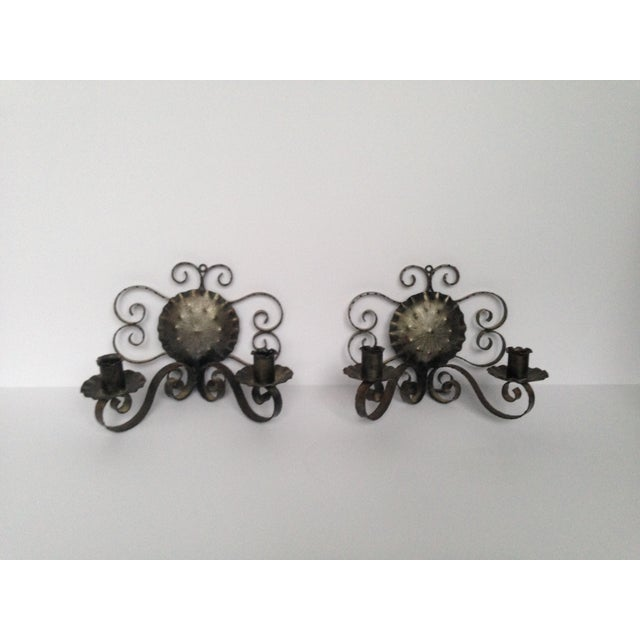 Spanish Revival-Style Candle Sconces- A Pair - Image 2 of 11