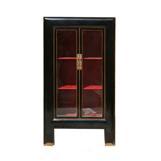 Black & Red Lacquer Glass Door Display Bookcase
