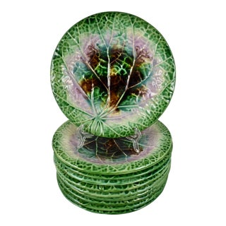 19th C. Majolica Green Rimmed Begonia Plates, S/10