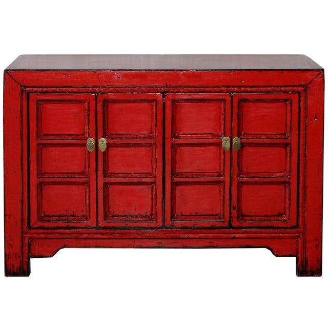 Image of Red Paneled Door Sideboard