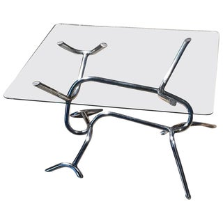 Vintage Industrial Chrome & Glass Coffee Table