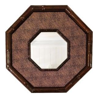 Vintage Octagonal Textured Wooden Mirror