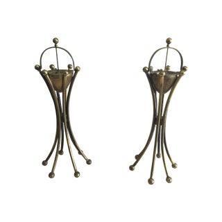 Brass Art Deco Ashtrays - A Pair