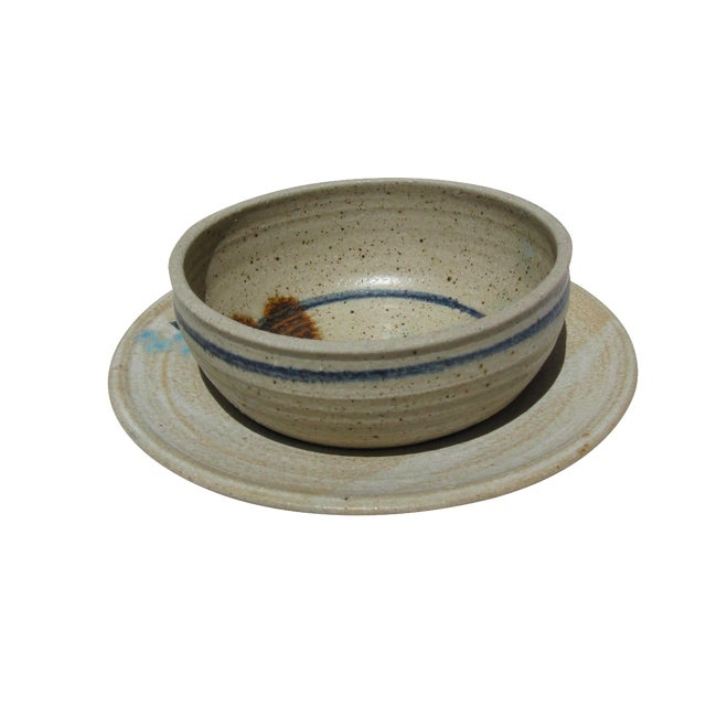 Image of Pottery Bowl & Plate Serving Set