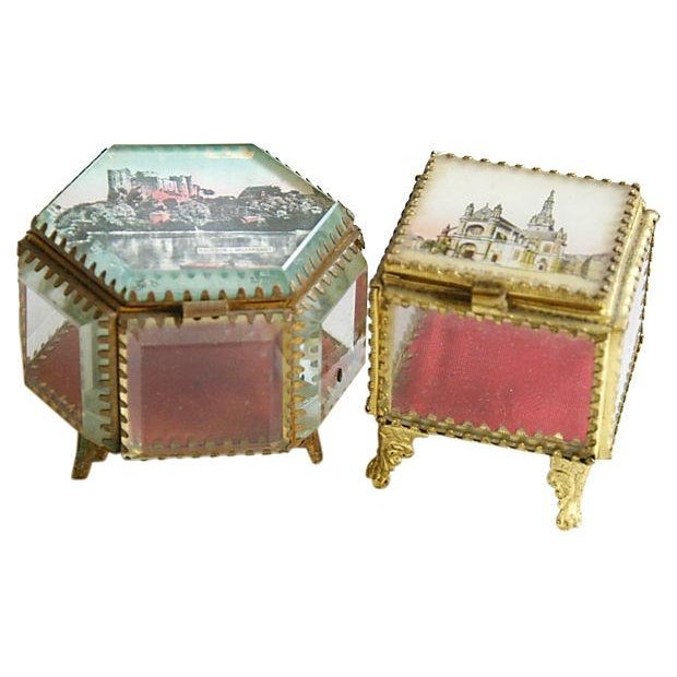 Antique French Souvenir Boxes - A Pair - Image 2 of 8