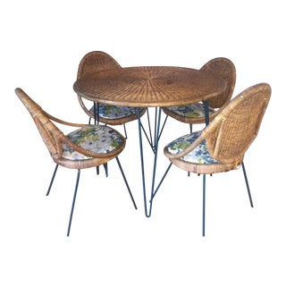 Danny Ho Fong Tropi-Cal Rattan Chairs & Table - Set of 5