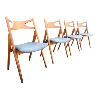 "4 Danish Teak ""Sawbuck"" Dining Chairs By Hans Wegner"
