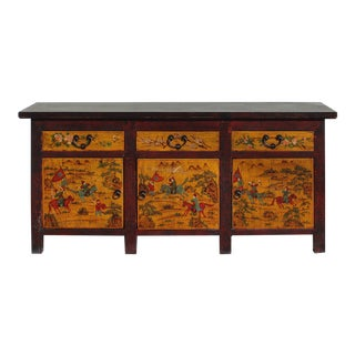 Chinese Distressed Yellow Red People Graphic Sideboard Console Table Cabinet