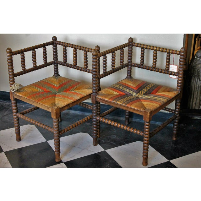 Antique French Corner Chairs - A Pair - Image 4 of 7