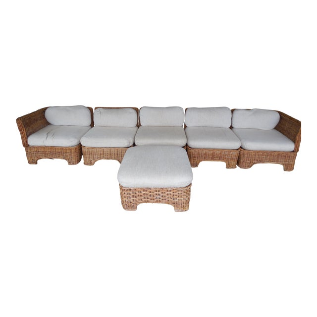 Vintage Wicker Sectional Patio Seating Set - Set of 6 - Image 1 of 8
