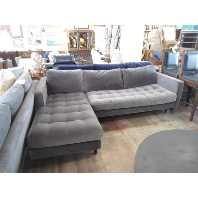 Shadow Gray Velvet Sectional, Left Chaise, Tufted Seating - Image 2 of 6