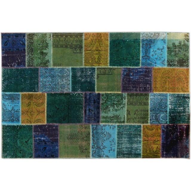 Image of Apadana - Blue Patchwork Overdye Rug - 7' x 10'