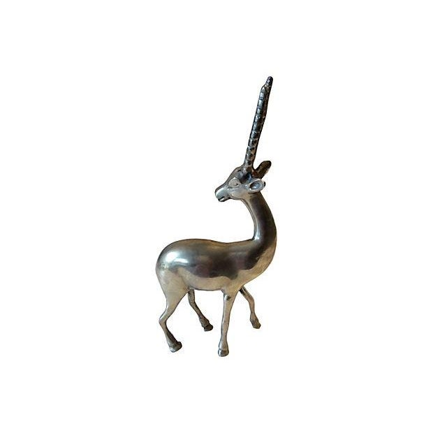 Mid-Century Solid Brass Gazelle - Image 2 of 6