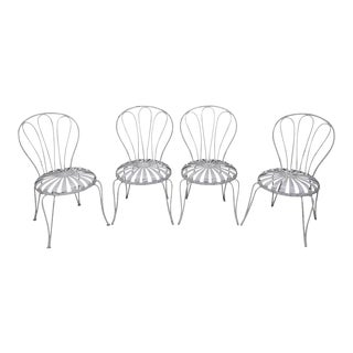 Francois Carre Vintage Set of 4 Sunburst Pinwheel Seat Garden Patio Chairs