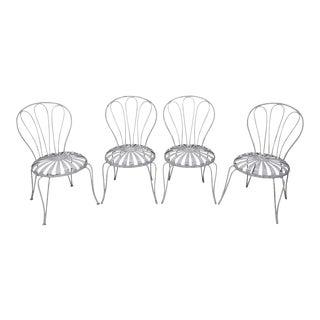 Francois Carre Vintage Set of 4 Sunburst Pinwheel Seat Garden Patio Chairs