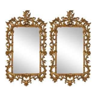 Chippendale-Style Giltwood Carved Mirrors - A Pair