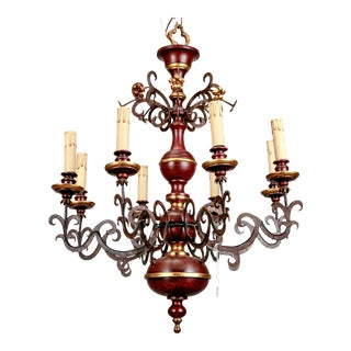 Italian 8-Light Turned Wood and Scrolled Iron Chandelier