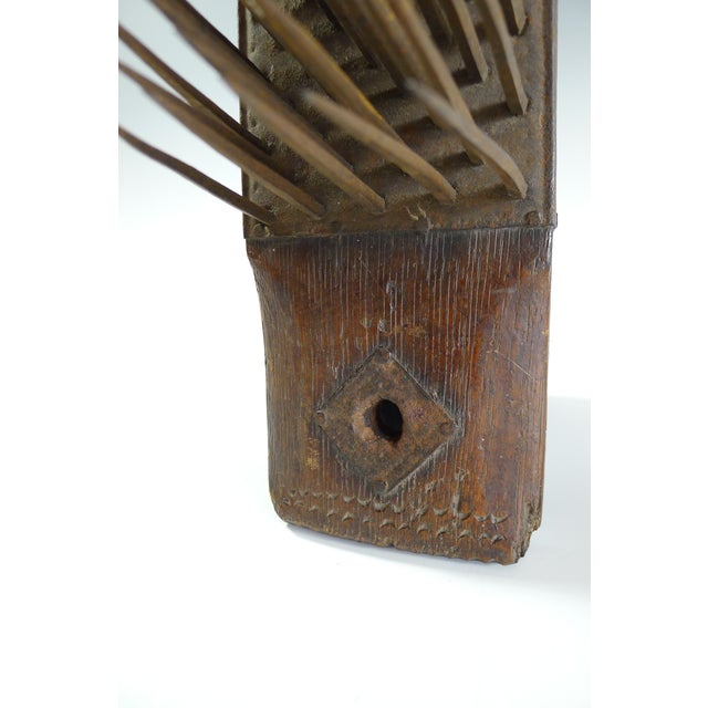 Antique 19th Century Wood and Iron Flax Comb Tool - Image 7 of 7