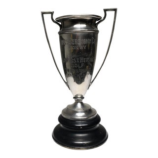 Early 20th Century Large Silver Plated Golf Trophy C. 1928