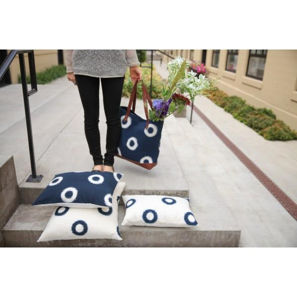 Blue Hand-Loomed Ikat Pillow - Image 2 of 2
