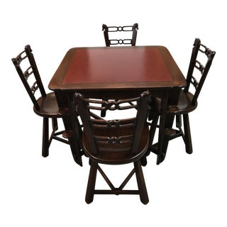 Vintage Leather Game Table & Chairs - Set of 5