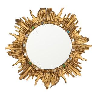 Vintage French Solid Brass Sunburst Mirror, 1960s
