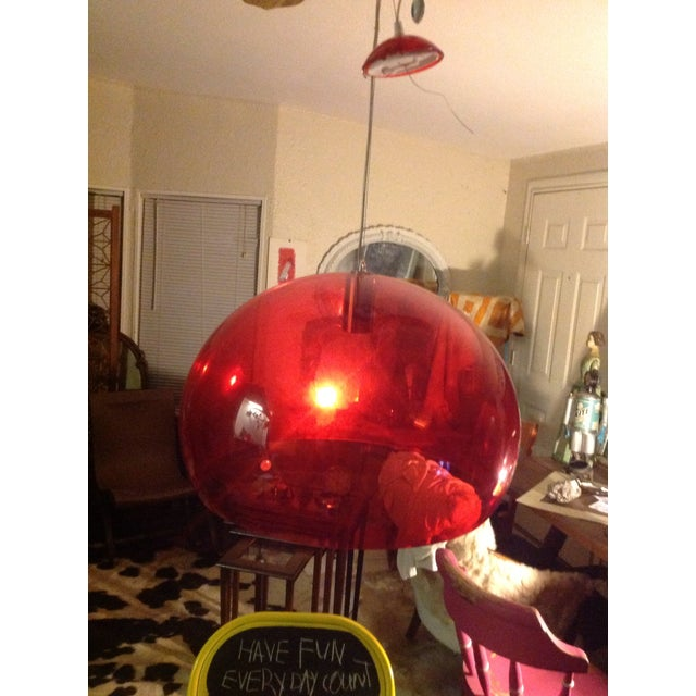 Image of Modernist Red Lucite Cartell Ceiling Lamp