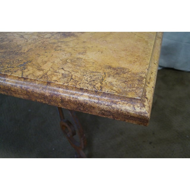 Wrought iron base french marble top dining table chairish for Wrought iron table bases marble top