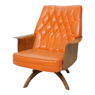 Orange Tufted Vinyl and Bentwood Walnut Lounge Chair