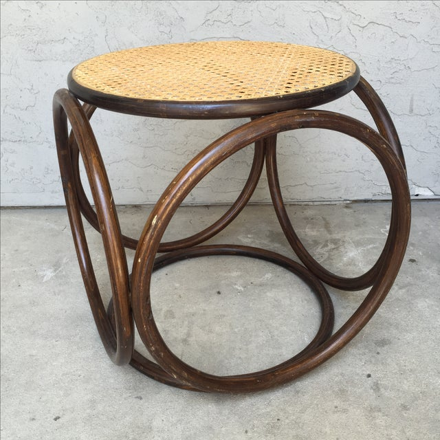 MCM Thonet Bentwood & Cane Ottoman or Side Table - Image 5 of 10