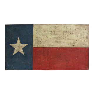 Hand Painted Antiqued Texas Flag Painting