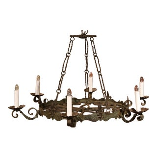 Early 20th Century French Six-Light Verdigris Iron Chandelier with Fleurs-de-Lys