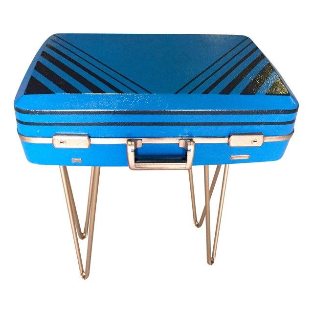 Vintage Retro Blue Suitcase Table - Image 1 of 7