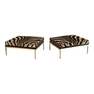 Knoll Style Zebra Hide & Brass Ottomans - Pair