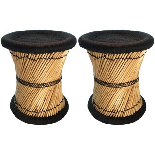 Natural Geo Moray Black Accent Stools - A Pair