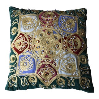 Vintage Handmade Gold Embroidered Sun Pillow