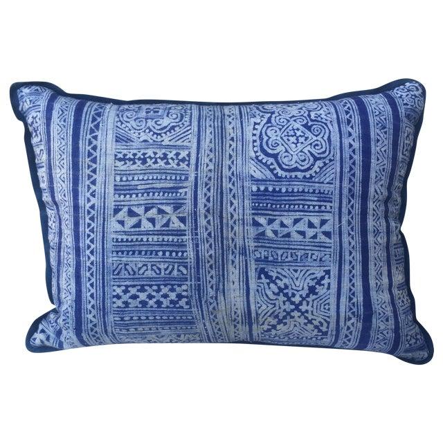 Indigo Blue & White Batik Cotton Pillow - Image 1 of 5
