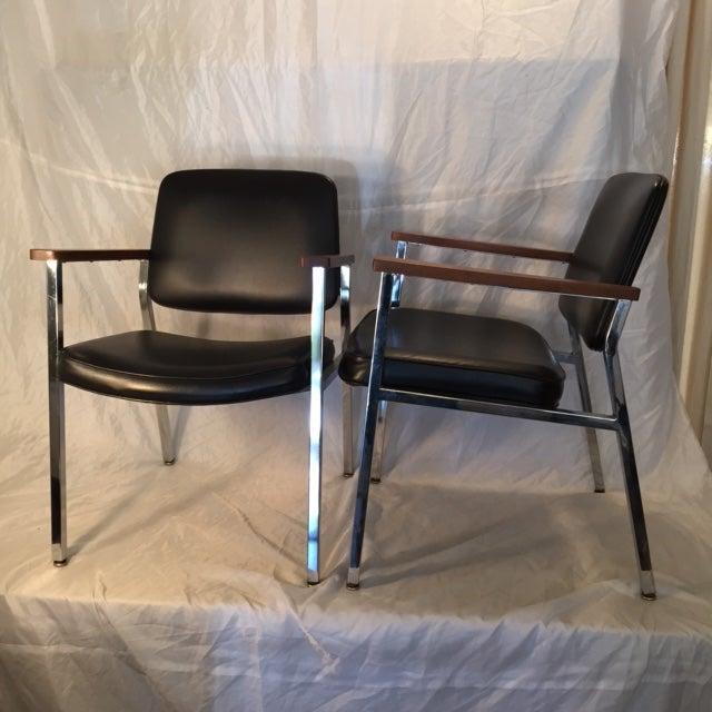 Mid-Century Chrome & Walnut Armchairs - A Pair - Image 3 of 7