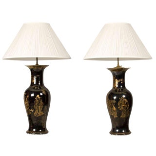 Black & Gold Chinese Porcelain Urn Lamps - A Pair