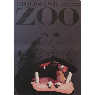 1967 Original Polish Zoo Poster, Hippo - Swierzy