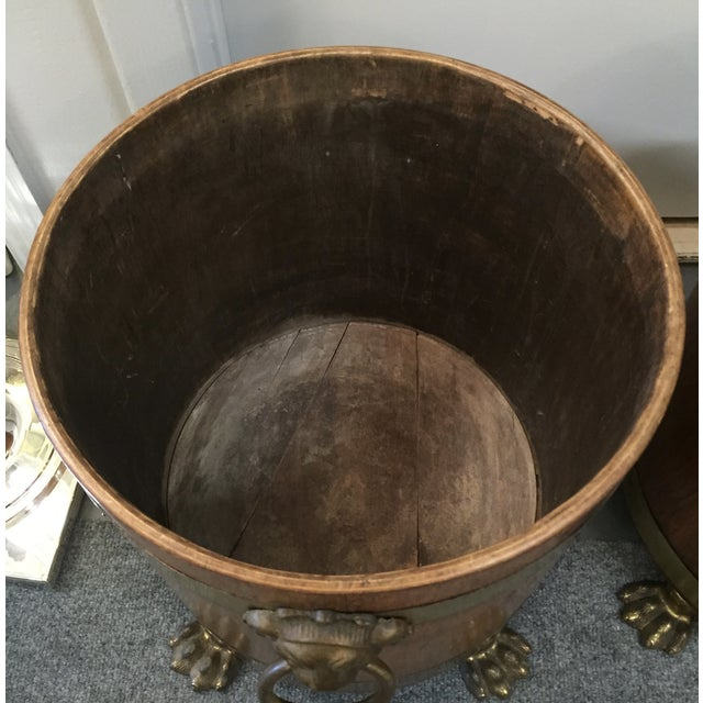 Image of English Regency Style Brass & Wood Planters - Pair