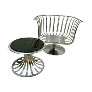 Russell Woodard Aluminum Swivel Chair And Table