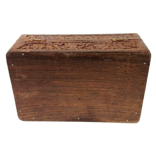 Vintage Sandalwood Carved Trinket Box India - Image 7 of 8