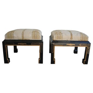 Ming Upholstered Stools - Pair