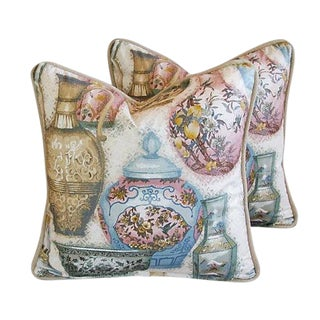 Custom Tailored Chinoiserie Vase Feather/Down Pillows - a Pair