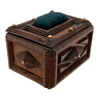 19th Century Hand-Carved French Tramp Art Decorative Sewing Box