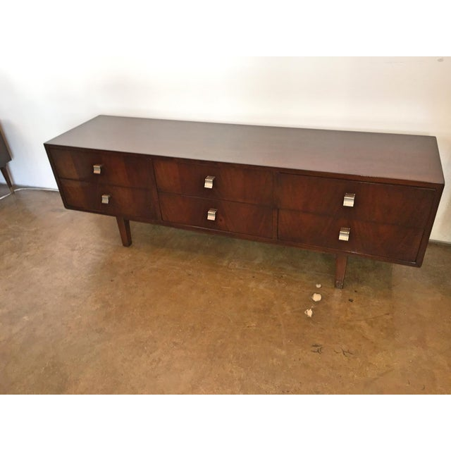 "Image of Argentine ""Americano Escandinavo"" Style Six Drawer Walnut Low Sideboard/Credenza"