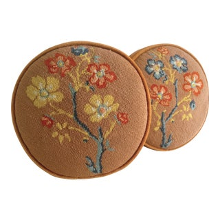 Needlepoint Floral Blossom Round Tablet Pillows - A Pair