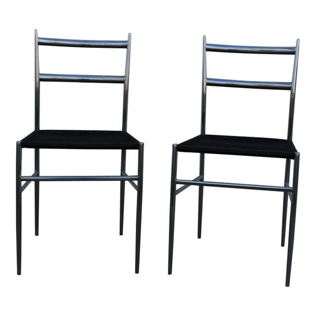 """""""Gio Ponti"""" Style Chrome Plated Steel Chairs - A Pair - Image 4 of 4"""